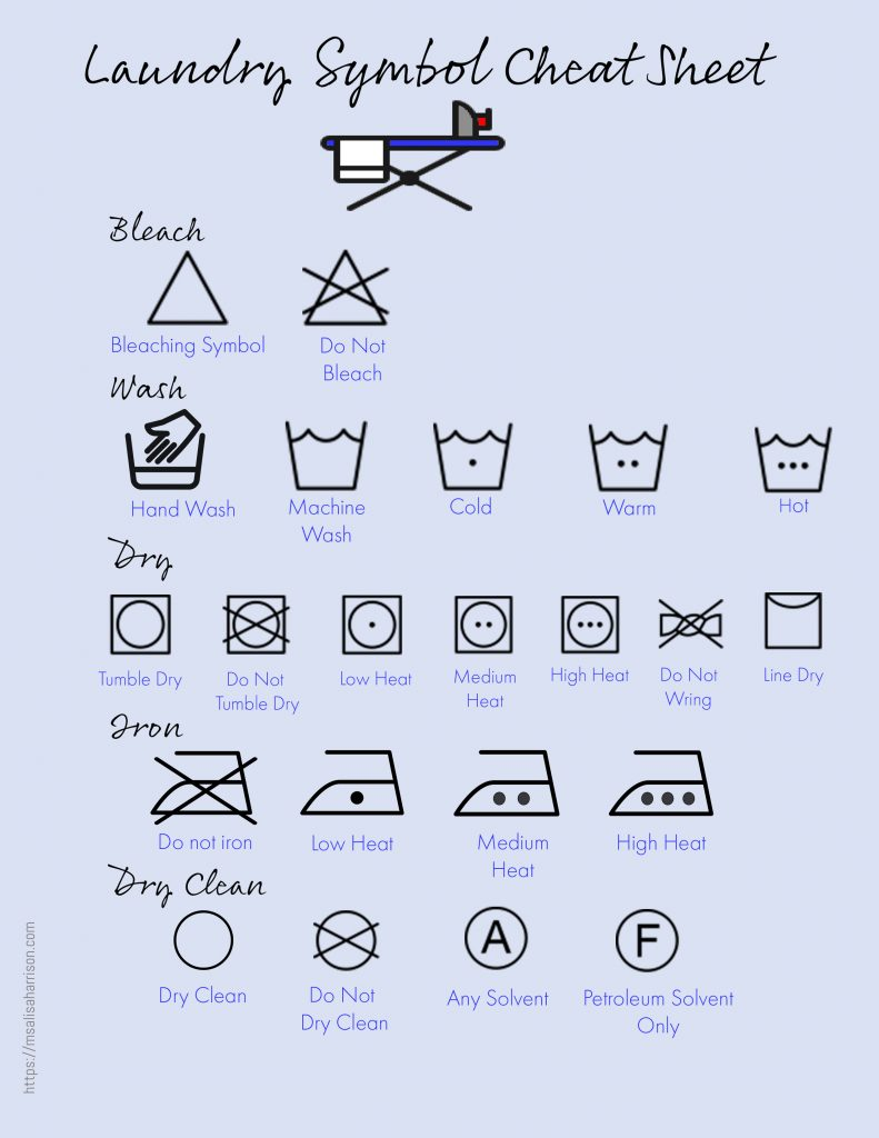This is a photo of Printable Laundry Symbols pertaining to laundry schedule